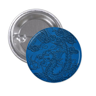 Embossed Dragon on Blue Lapis Leather Texture Button