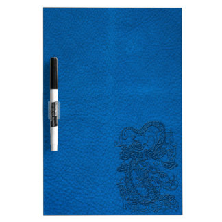 Embossed Dragon on Blue Lapis Leather Texture Dry-Erase Whiteboard