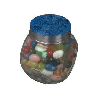 Embossed Dragon on Blue Lapis Leather Texture Jelly Belly Candy Jar