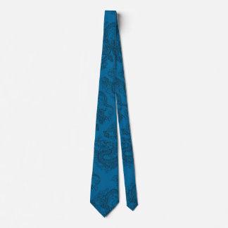 Embossed Dragon on Blue Lapis Leather Texture Neck Tie