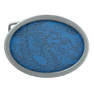 Embossed Dragon on Blue Lapis Leather Texture Oval Belt Buckle