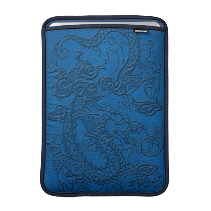Embossed Dragon on Blue Lapis Leather Texture Sleeves For MacBook Air