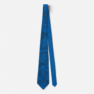 Embossed Dragon on Blue Lapis Leather Texture Tie