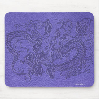 Embossed Dragon on Blue Leather Texture Mouse Pad