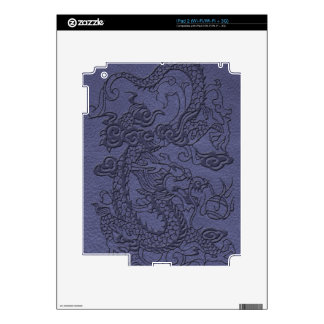 Embossed Dragon on BlueSlate Leather Texture Decal For iPad 2