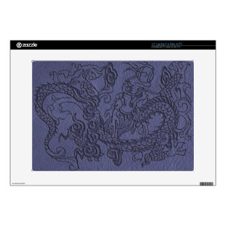 """Embossed Dragon on BlueSlate Leather Texture Skins For 15"""" Laptops"""