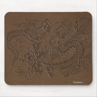 Embossed Dragon on Brown Leather Texture Mouse Pad
