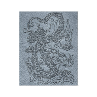 Embossed Dragon On Grey Leather print