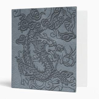 Embossed Dragon On Grey Leather print 3 Ring Binder