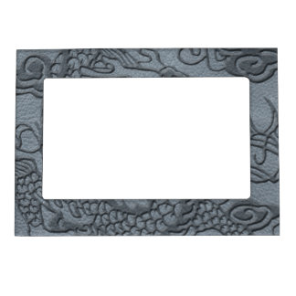 Embossed Dragon On Grey Leather print Magnetic Frame