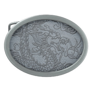 Embossed Dragon On Grey Leather print Oval Belt Buckle