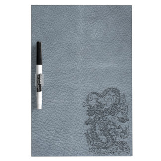 Embossed Dragon on Grey Leather Texture Dry Erase Board