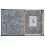 Embossed Dragon on Grey Leather Texture iPad Case