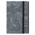 Embossed Dragon on Grey Leather Texture iPad Mini Case