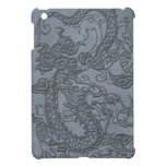Embossed Dragon on Grey Leather Texture iPad Mini Covers
