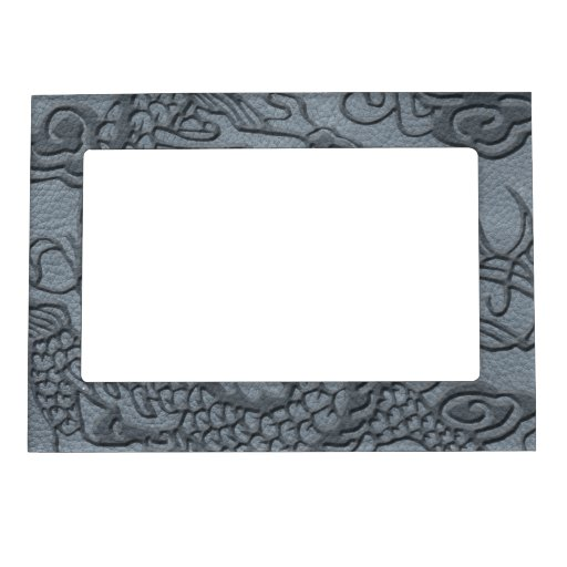 Embossed Dragon on Grey Leather Texture Magnetic Frame