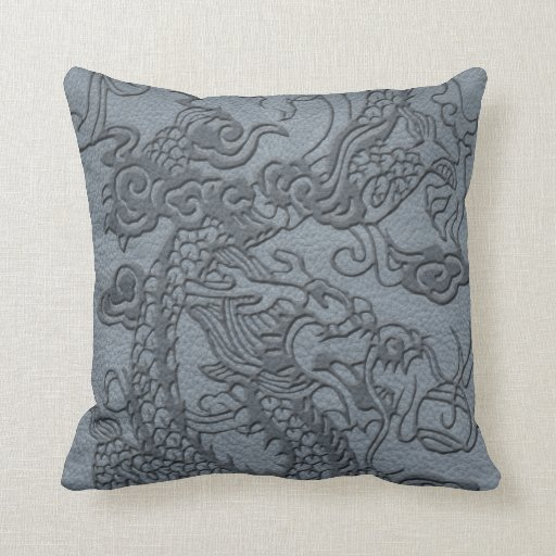 Embossed Dragon on Grey Leather Texture Pillow