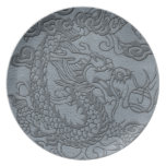 Embossed Dragon on Grey Leather Texture Party Plates