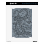 Embossed Dragon on Grey Leather Texture Decals For NOOK