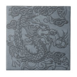 Embossed Dragon on Grey Leather Texture Tile