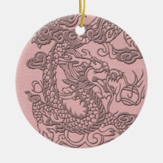 Embossed Dragon On Light pink Leather print Ceramic Ornament