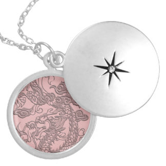 Embossed Dragon On light pink leather print Silver Plated Necklace