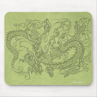 Embossed Dragon on Lime Green Leather Texture Mouse Pad