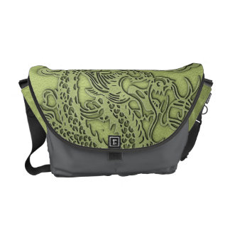 Embossed Dragon On Lime Leather Texture Messenger Bag