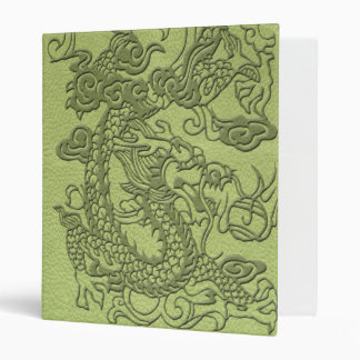 Embossed Dragon on LimeGreen Leather Texture 3 Ring Binder