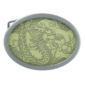 Embossed Dragon on LimeGreen Leather Texture Belt Buckle