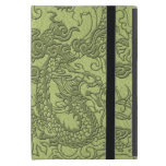 Embossed Dragon on LimeGreen Leather Texture Cases For iPad Mini