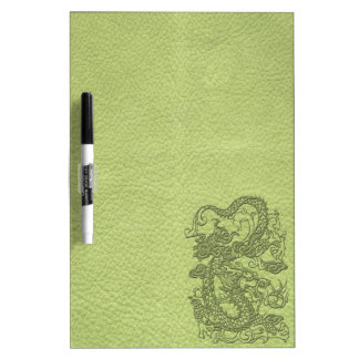 Embossed Dragon on LimeGreen Leather Texture Dry-Erase Whiteboard