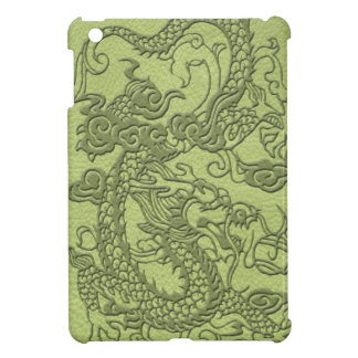 Embossed Dragon on LimeGreen Leather Texture iPad Mini Cover