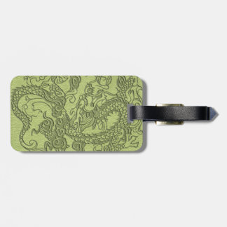 Embossed Dragon on LimeGreen Leather Texture Luggage Tag