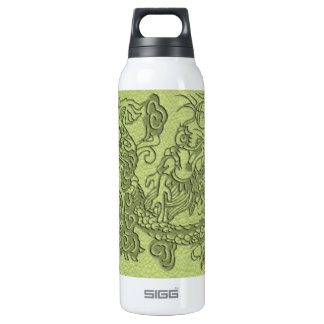 Embossed Dragon on LimeGreen Leather Texture Thermos Water Bottle