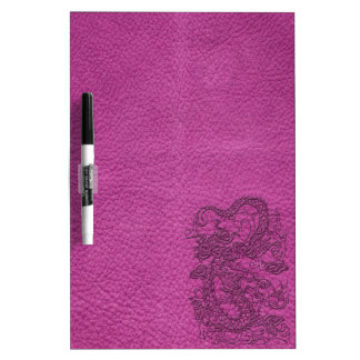 Embossed Dragon on Magenta Pink Leather Texture Dry Erase Whiteboards