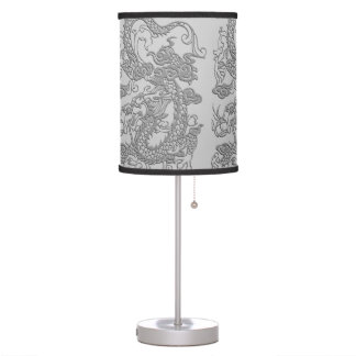 Embossed Dragon on Mink Leather Texture Desk Lamp