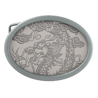 Embossed Dragon on Mink Leather Texture Oval Belt Buckle
