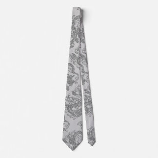 Embossed Dragon on Mink Leather Texture Tie