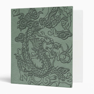 Embossed Dragon on Mint jade Leather Texture 3 Ring Binder
