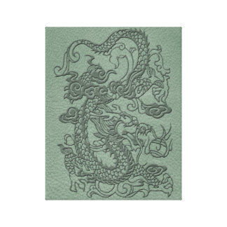 Embossed Dragon on Mint jade Leather Texture Canvas Print