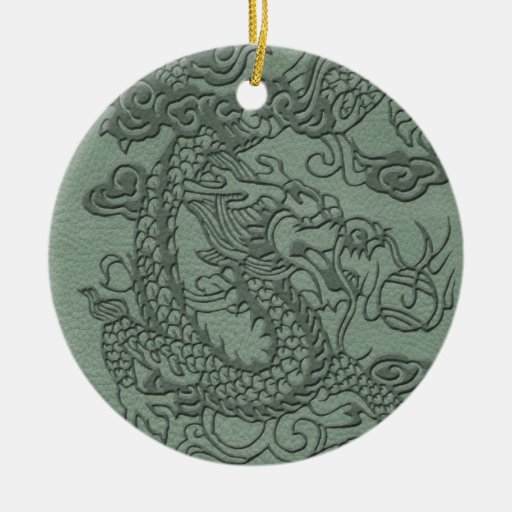 Embossed Dragon on Mint jade Leather Texture Double-Sided Ceramic Round Christmas Ornament