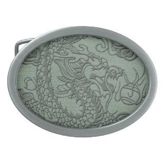Embossed Dragon on Mint jade Leather Texture Oval Belt Buckle