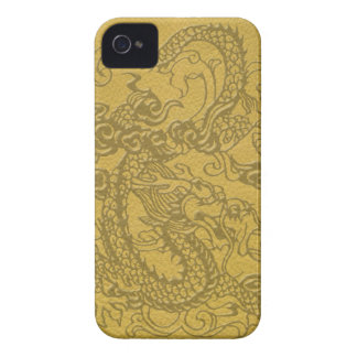 Embossed Dragon On mustard Leather Texture iPhone 4 Case-Mate Case