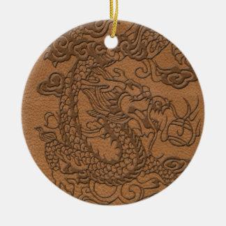 Embossed Dragon On natural Tan Leather Print Ceramic Ornament
