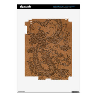 Embossed Dragon On natural Tan Leather Print iPad 3 Decal