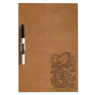 Embossed Dragon on Natural Tan Leather Texture Dry Erase White Board