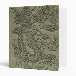 Embossed Dragon On olive green leather print 3 Ring Binder