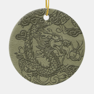 Embossed Dragon On olive green leather print Ceramic Ornament