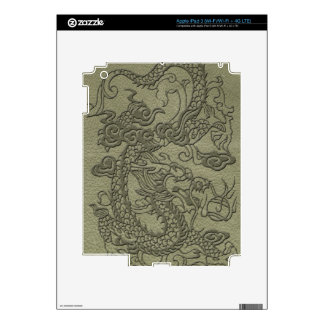 Embossed Dragon On olive green leather print Decal For iPad 3